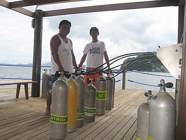 Filling dive tanks with Nitrox.