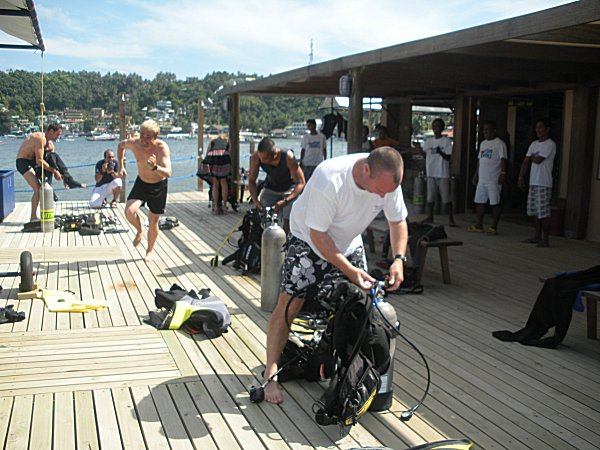 Changing into diving gear at Asia Divers