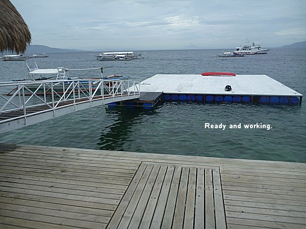 Pontoon at the El Galleon beach resort in Puerto Galera