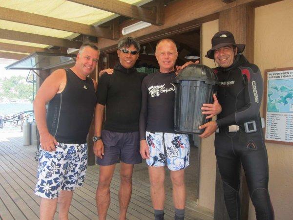 Cleaning the ocean off Puerto Galera